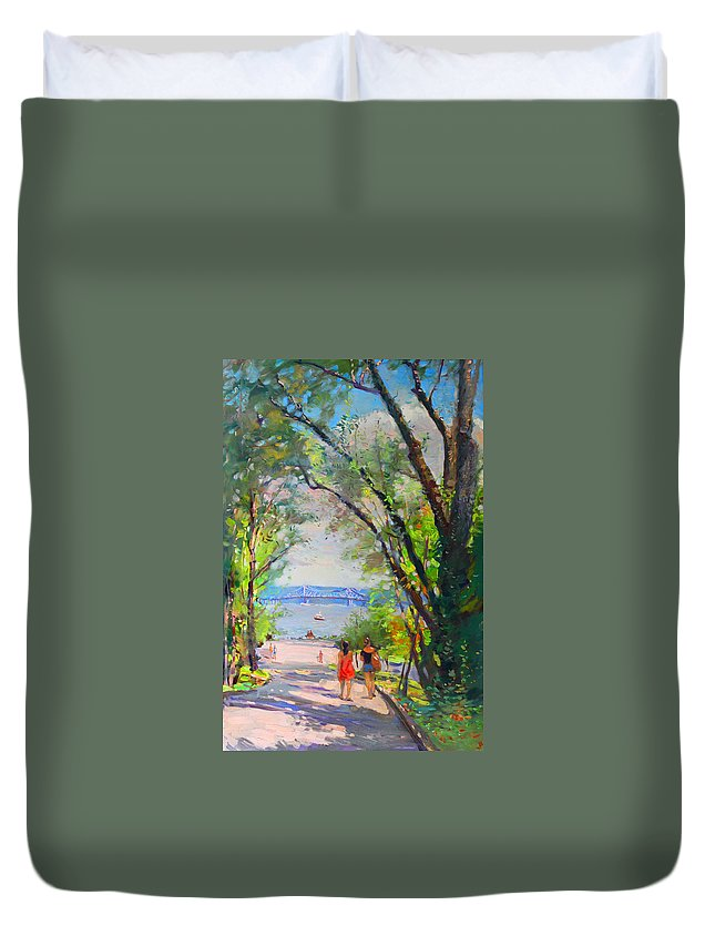 Nyack Park Duvet Cover featuring the painting Nyack Park A Beautiful Day For A Walk by Ylli Haruni