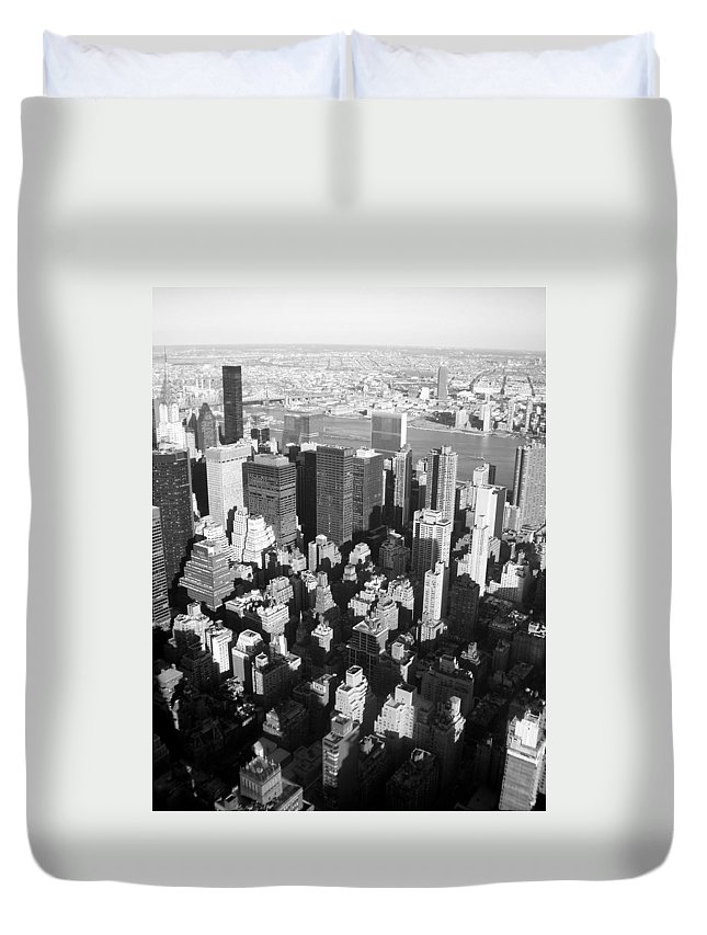 Nyc Duvet Cover featuring the photograph Nyc Bw by Anita Burgermeister