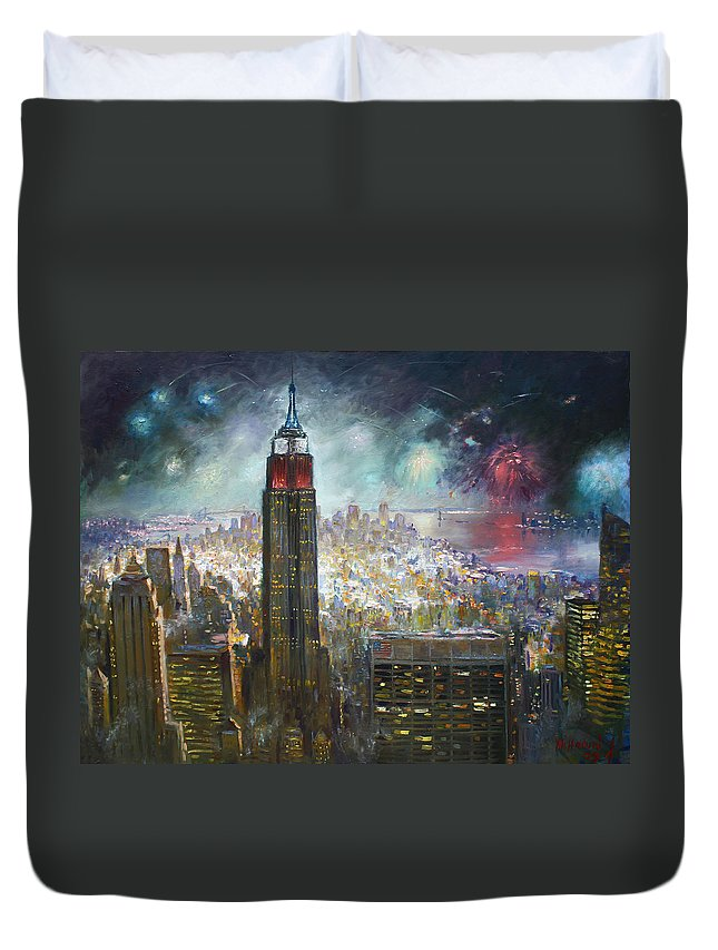 Landscape Duvet Cover featuring the painting Nyc. Empire State Building by Ylli Haruni