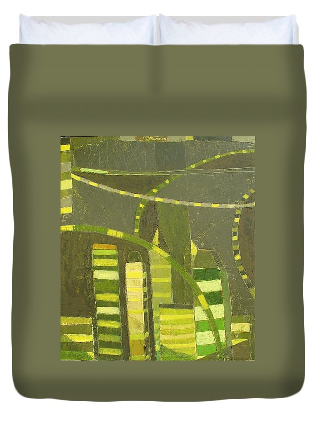 Nyc Duvet Cover featuring the painting Nyc In Deep Green by Habib Ayat