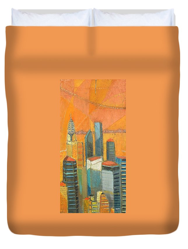Duvet Cover featuring the painting Nyc In Orange by Habib Ayat