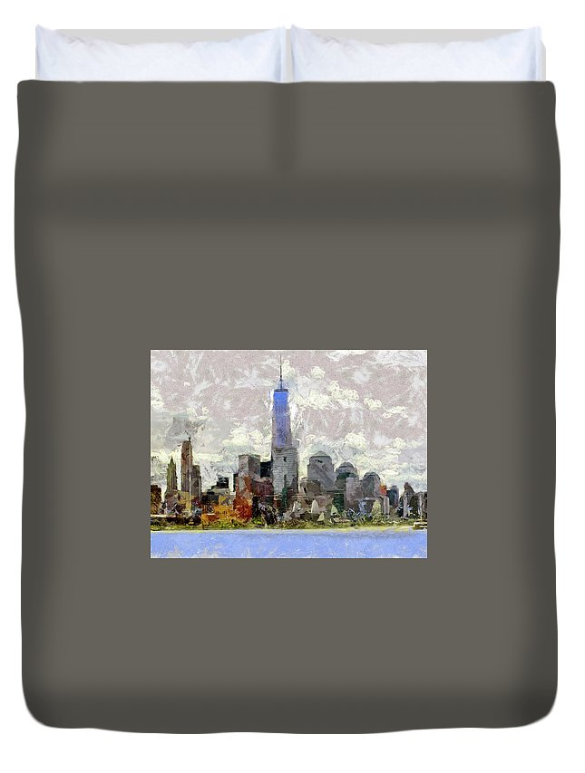 Recent Duvet Cover featuring the photograph Nyc Skyline Digital Painting by Geraldine Scull