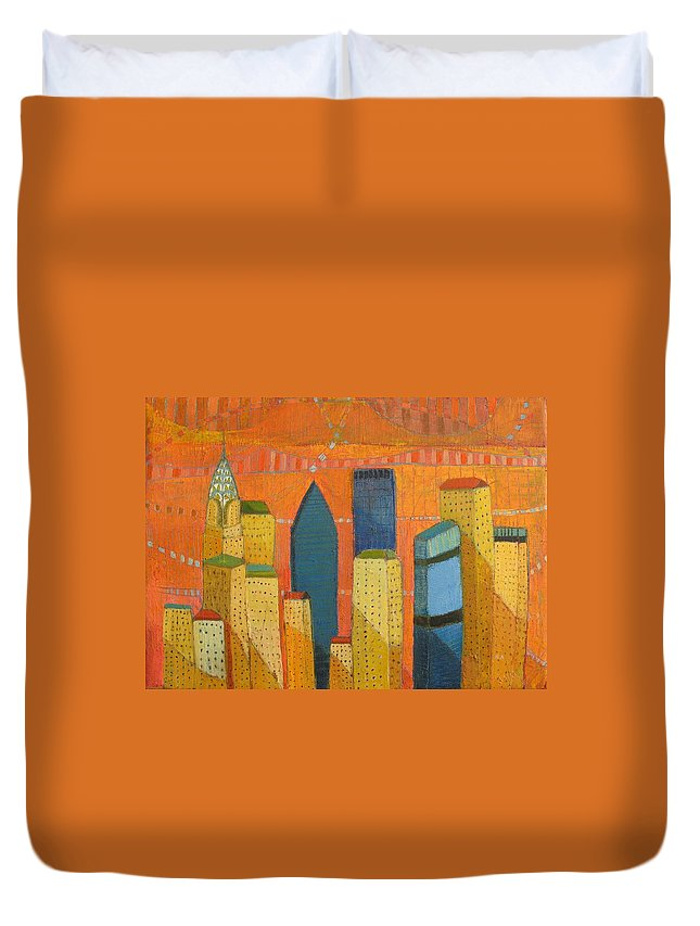 Abstract Cityscape Duvet Cover featuring the painting Nyc With Chrysler by Habib Ayat