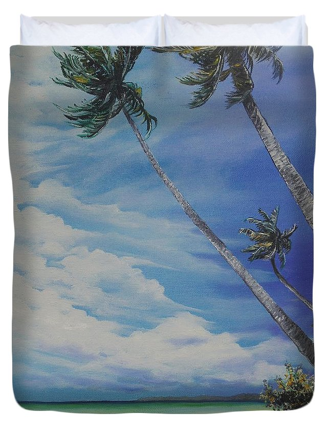 Trinidad And Tobago Seascape Duvet Cover featuring the painting Nylon Pool Tobago. by Karin Dawn Kelshall- Best