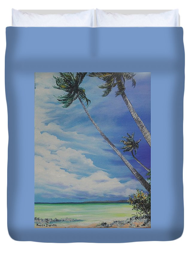 Ocean Painting Seascape Painting Beach Painting Palm Tree Painting Clouds Painting Tobago Painting Caribbean Painting Sea Beach T Obago Palm Trees Duvet Cover featuring the painting Nylon Pool Tobago. by Karin Dawn Kelshall- Best