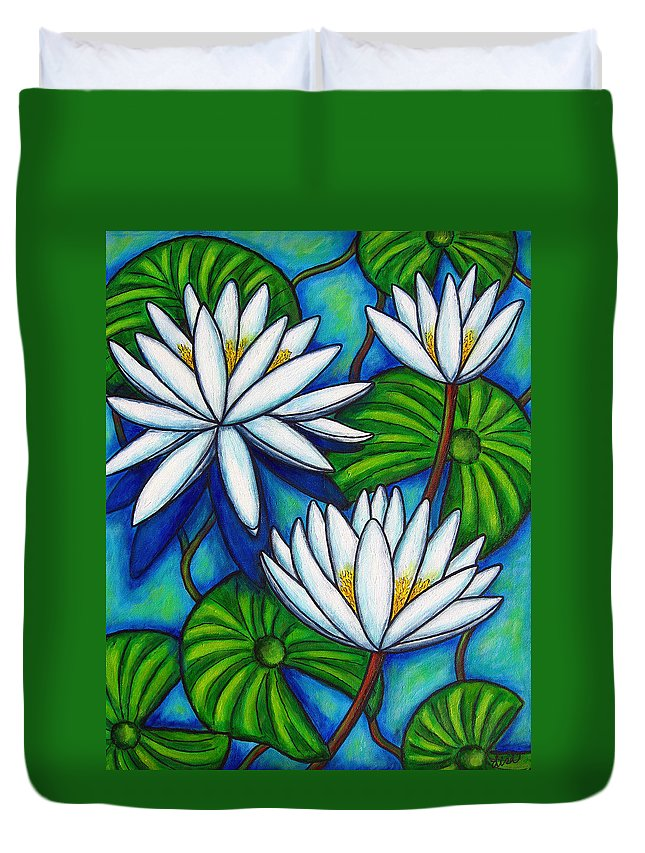Lily Duvet Cover featuring the painting Nymphaea Blue by Lisa Lorenz