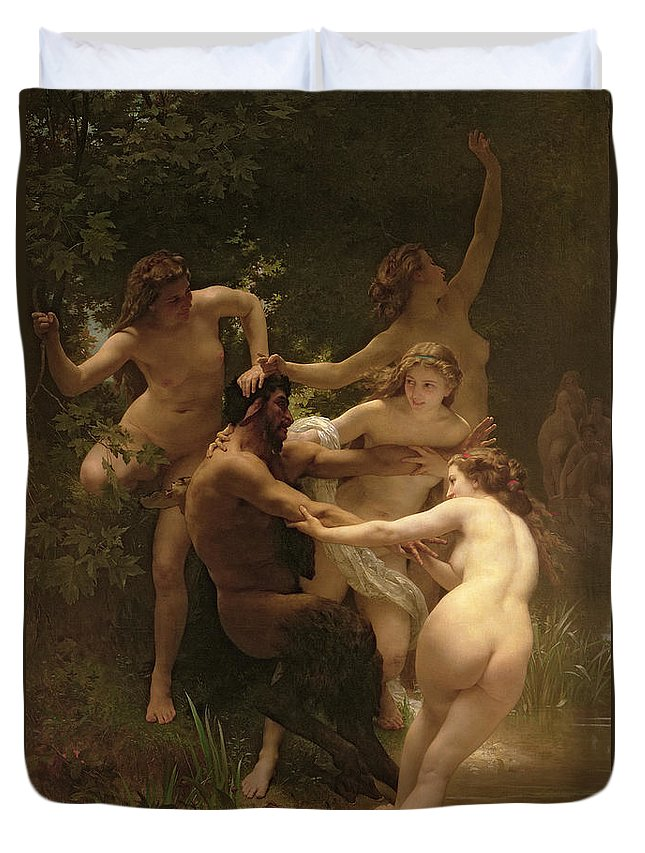 Nymphs And Satyr Duvet Cover featuring the painting Nymphs And Satyr by William Adolphe Bouguereau