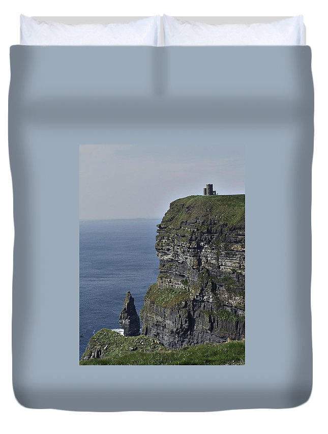 Irish Duvet Cover featuring the photograph O Brien's Tower At The Cliffs Of Moher Ireland by Teresa Mucha