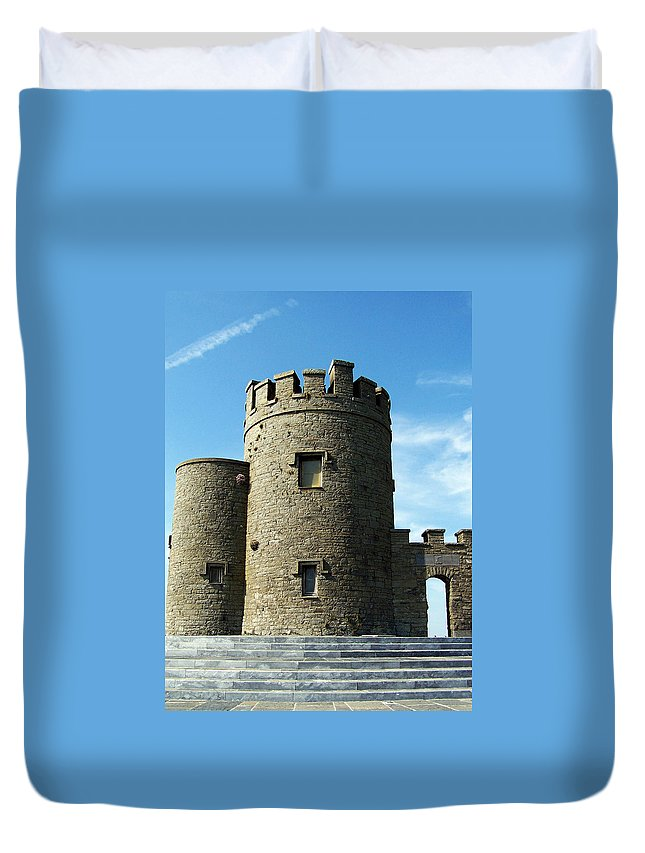 Irish Duvet Cover featuring the photograph O Brien's Tower Cliffs Of Moher Ireland by Teresa Mucha
