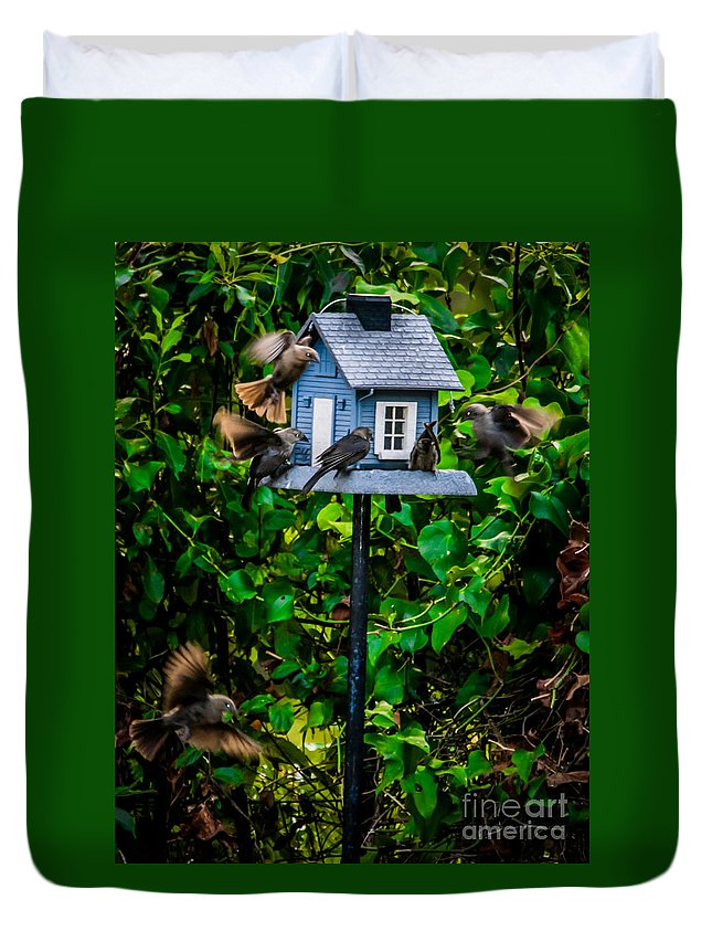 Birdhouse Duvet Cover featuring the photograph O Room At The Inn by Alicia Collins