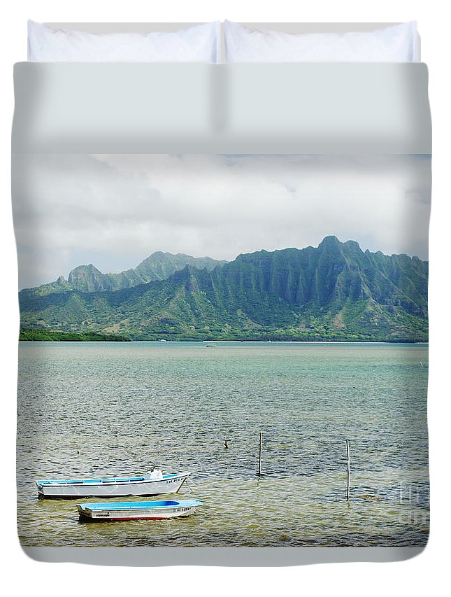 Anchor Duvet Cover featuring the photograph Oahu, Kaneohe Bay by Vince Cavataio - Printscapes