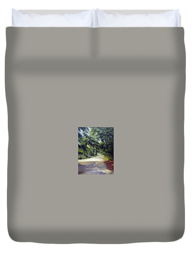 Duvet Cover featuring the painting Oak Court, East Marion by Tony Scarmato