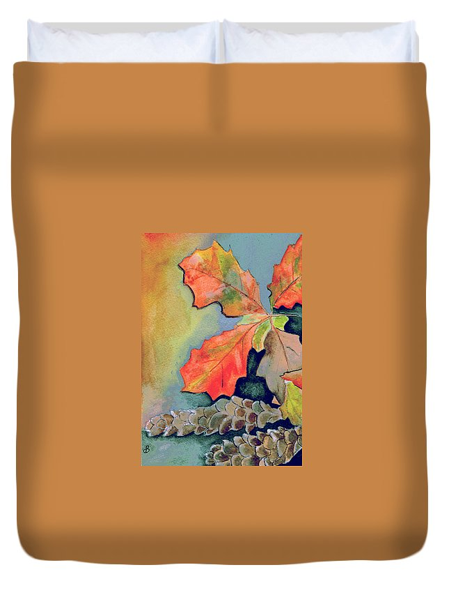 Watercolor Duvet Cover featuring the painting Oak Leaves And Pinecones by Brenda Owen