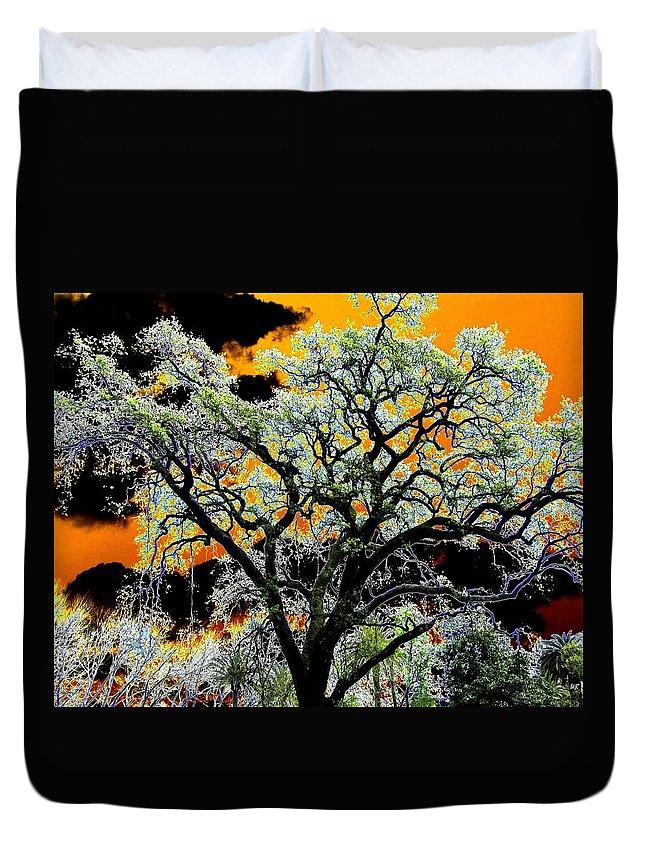 Oak Tree Duvet Cover featuring the digital art Oak Oasis by Will Borden