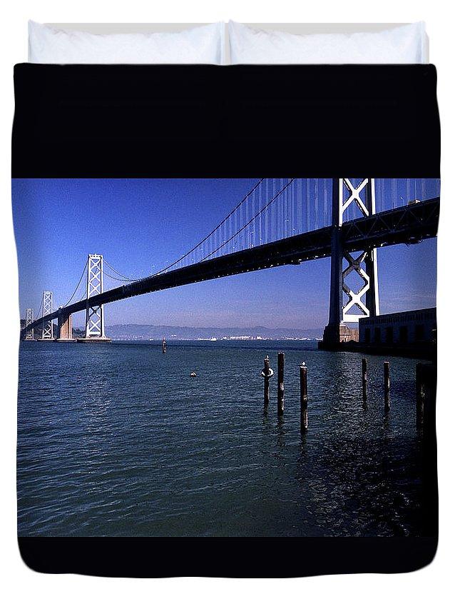 San Francisco Duvet Cover featuring the photograph Oakland Bay Bridge 1985 by Lee Santa