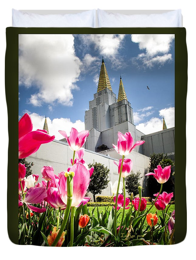 Oakland Temple Photography Duvet Cover featuring the photograph Oakland Pink Tulips by La Rae Roberts
