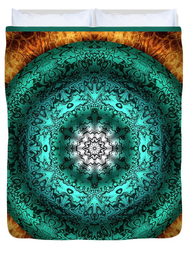 Experimental Mandalas Duvet Cover featuring the digital art Oasis by Becky Titus