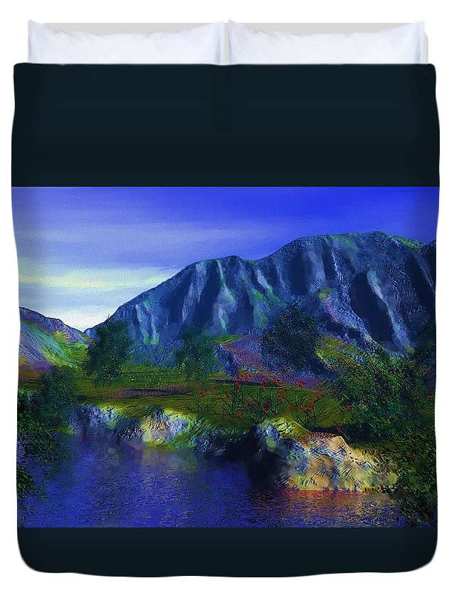 Fine Art Duvet Cover featuring the digital art Oasis by David Lane