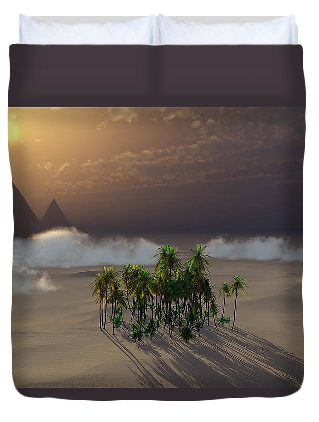 Deserts Duvet Cover featuring the digital art Oasis by Richard Rizzo