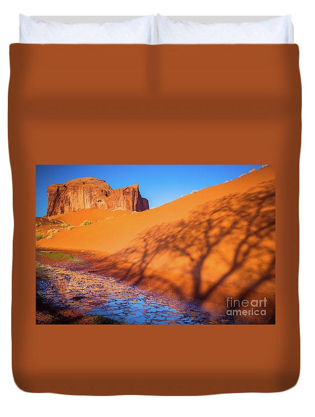 America Duvet Cover featuring the photograph Oasis Tree Shadow by Inge Johnsson