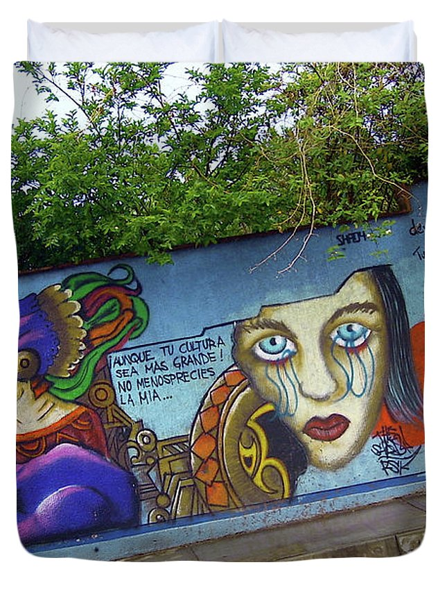 Graffiti Duvet Cover featuring the photograph Oaxaca Graffiti by Michael Peychich
