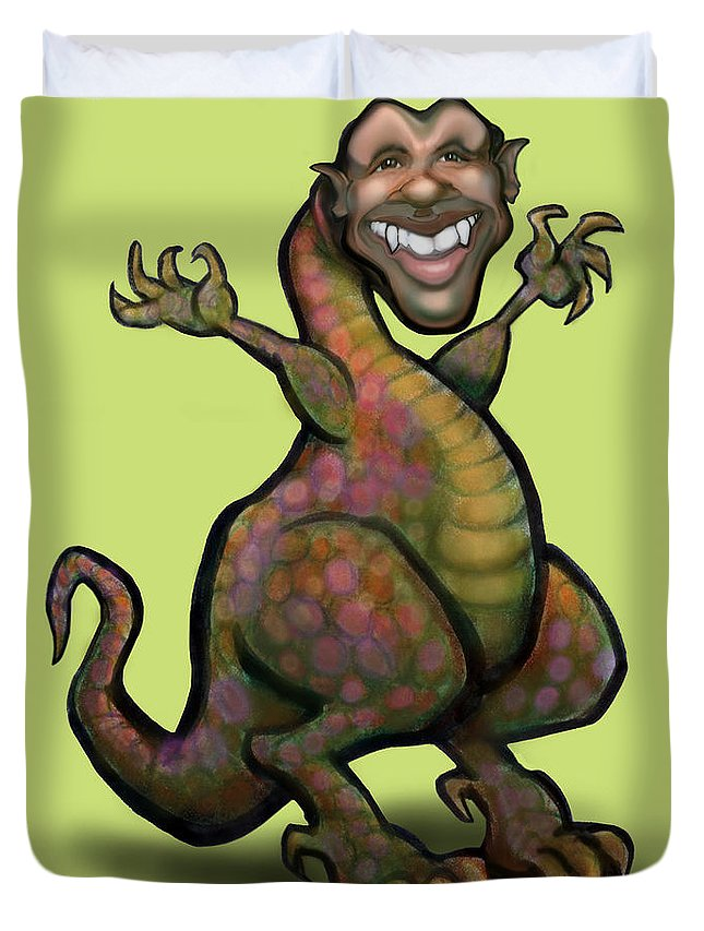 Barack Obama Duvet Cover featuring the greeting card Obama Saurus Rex by Kevin Middleton