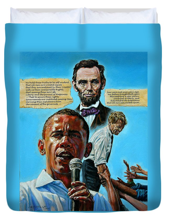 Obama Duvet Cover featuring the painting Obamas Heritage by John Lautermilch