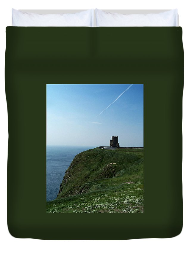 Irish Duvet Cover featuring the photograph O'brien's Tower At The Cliffs Of Moher Ireland by Teresa Mucha
