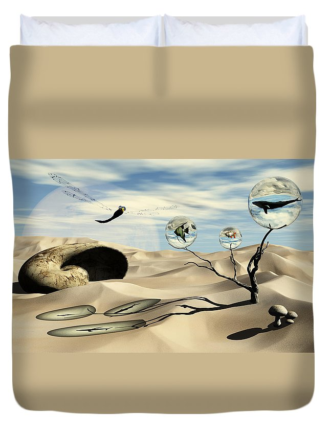 Surrealism Duvet Cover featuring the digital art Observations by Richard Rizzo