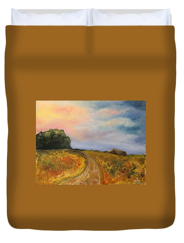 Landscape Duvet Cover featuring the painting Obviously Covered by Darko Topalski
