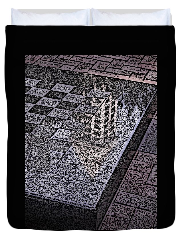 Seattle Duvet Cover featuring the digital art Occidental Park Checkerboard by Tim Allen