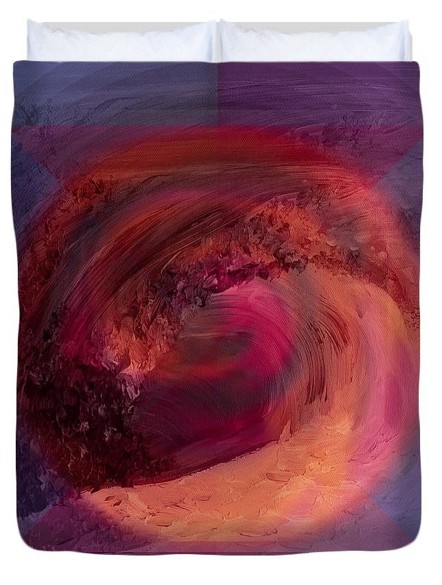 Abstract Duvet Cover featuring the painting Ocean And Earth by Shelley Myers
