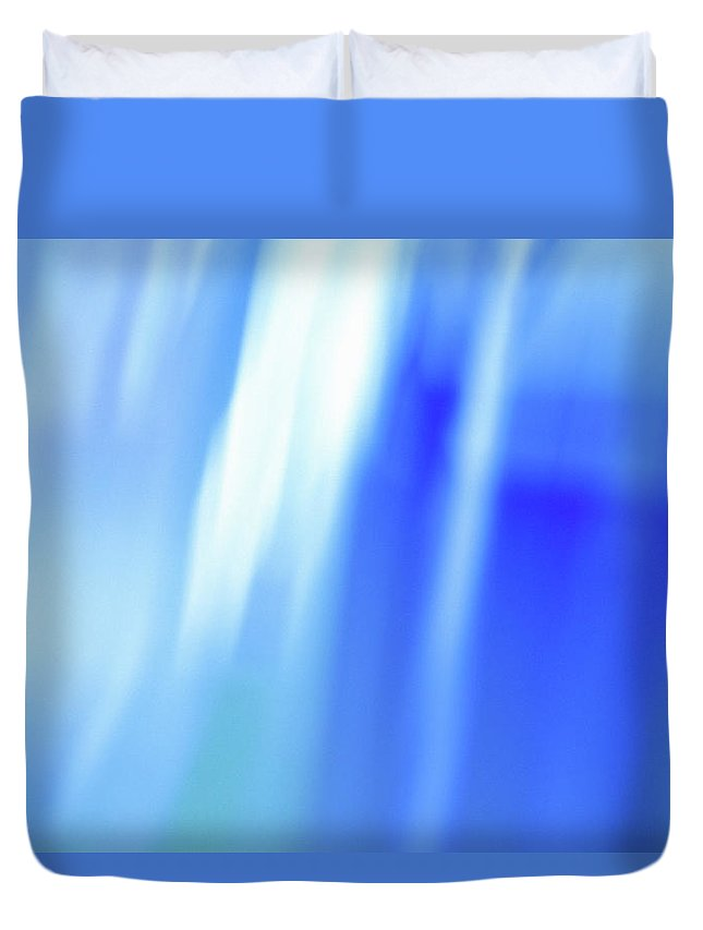 Laura Fasulo Duvet Cover featuring the mixed media Ocean Blues Abstract by Laura Fasulo