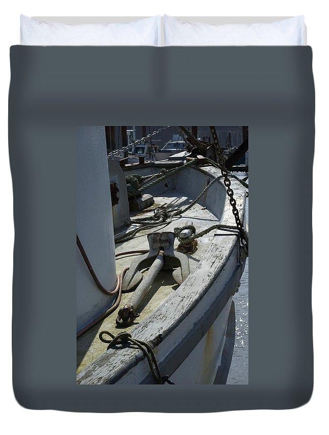 Anchor Duvet Cover featuring the photograph Ocean Bow by Sara Stevenson
