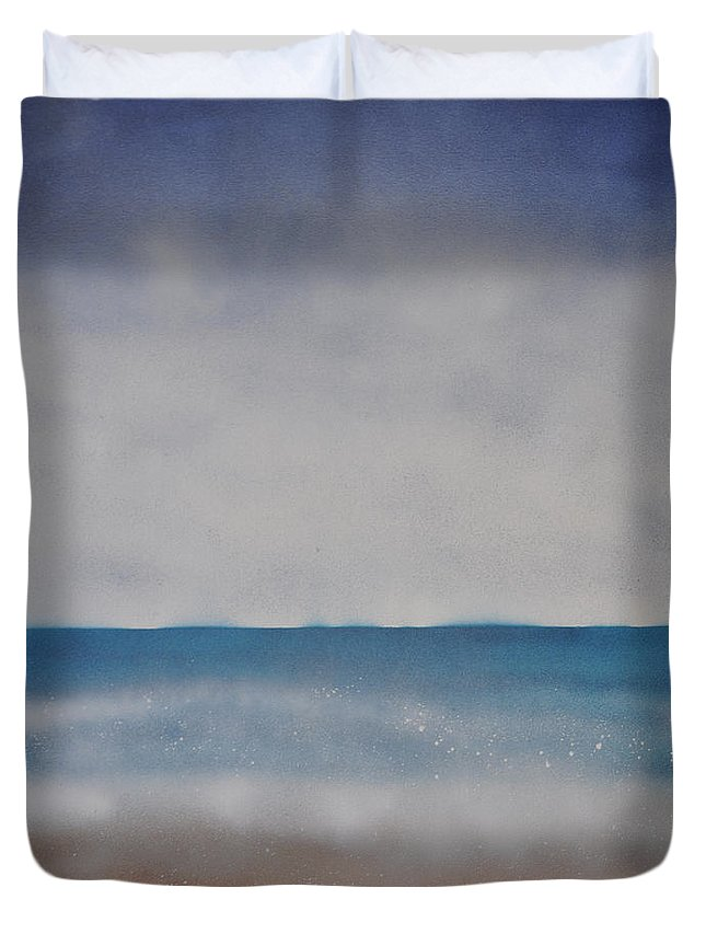 Ocean Duvet Cover featuring the painting Ocean Breathe by Shelley Myers