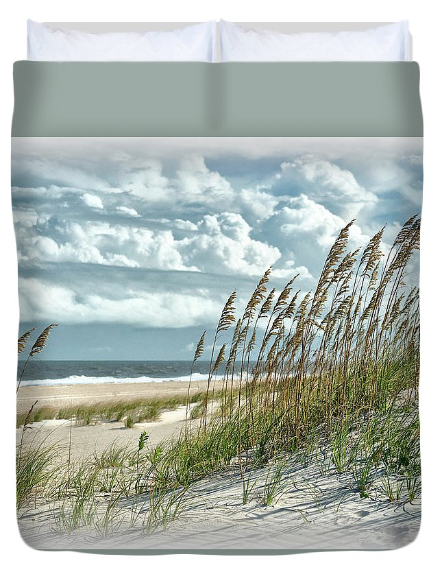Ocean Duvet Cover featuring the photograph Ocean Breeze At Fort Fisher - Number One by Paul Schreiber