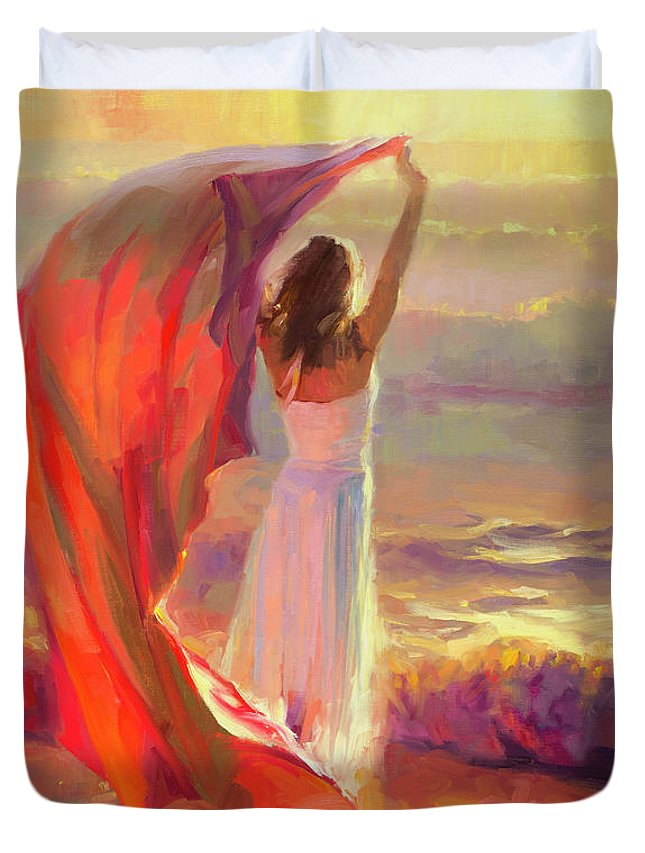 Ocean Duvet Cover featuring the painting Ocean Breeze by Steve Henderson