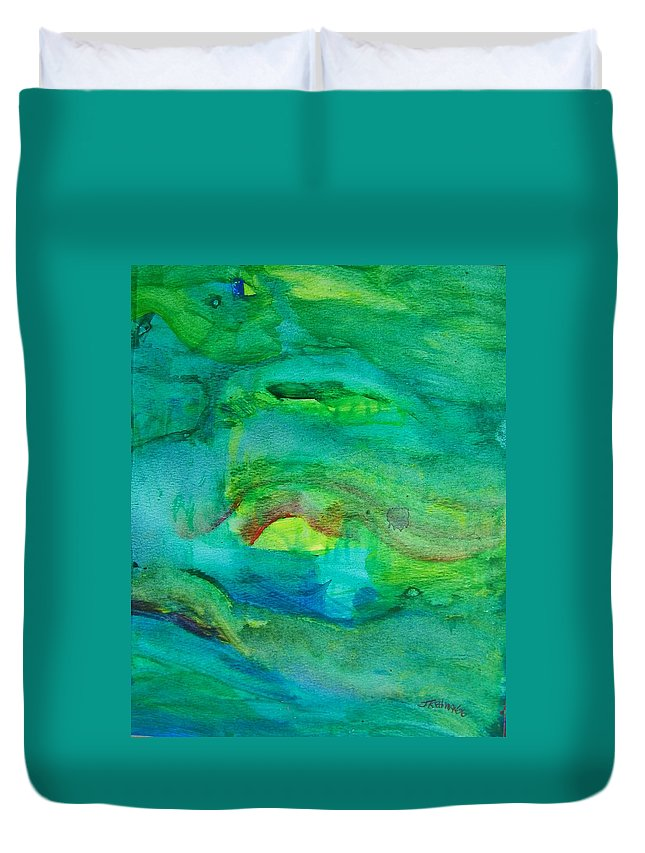 Abstract Duvet Cover featuring the painting Ocean Caves by Judith Redman