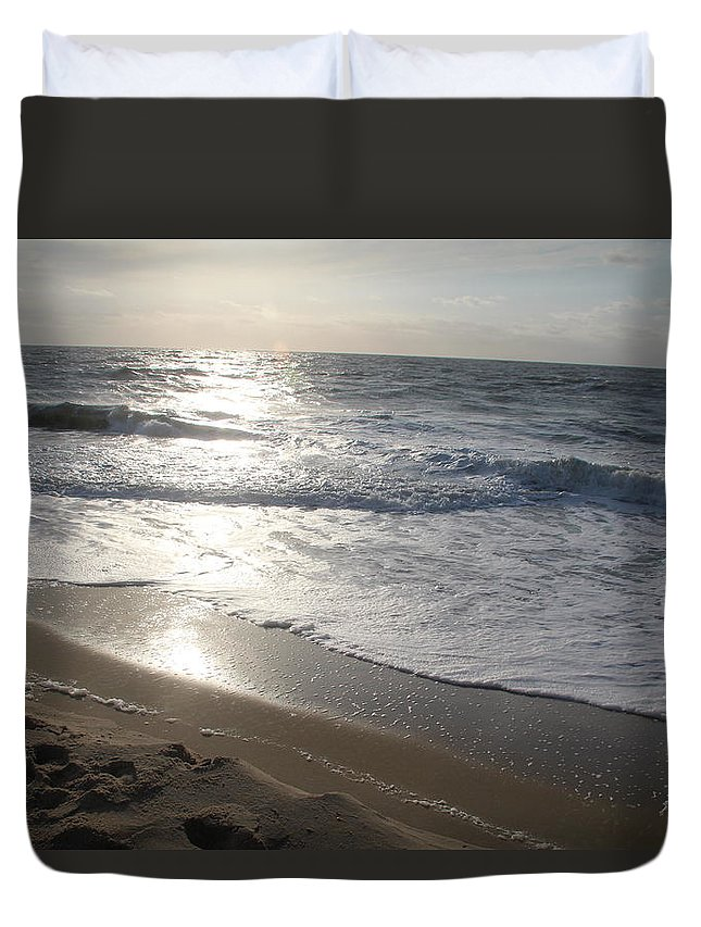 Setting Sun Waves Clouds Sky Horizon Sand Footprints Sea Foam Summer Vacation Duvet Cover featuring the photograph Ocean City by Scott Burd