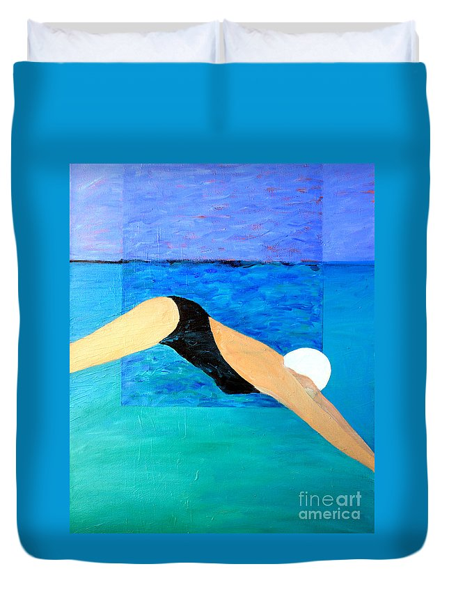 Water Duvet Cover featuring the painting Ocean Dive by Lisa Baack