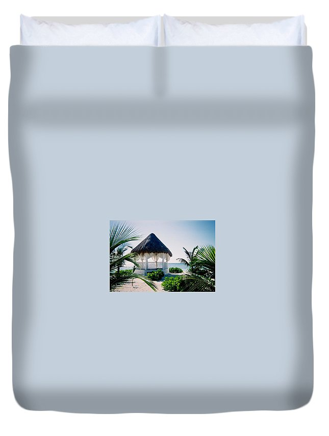 Resort Duvet Cover featuring the photograph Ocean Gazebo by Anita Burgermeister