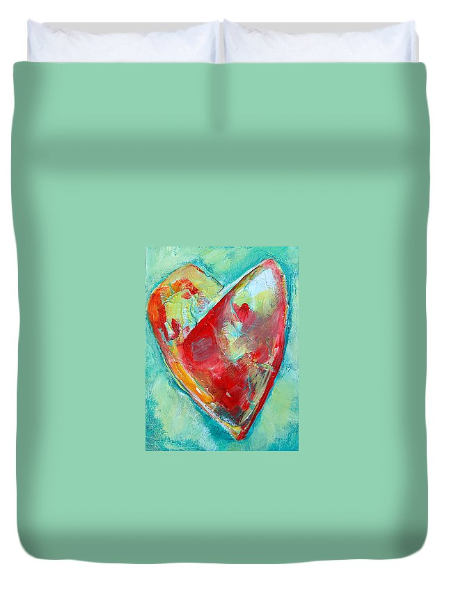 Heart Duvet Cover featuring the painting Ocean Heart by Racquel Morgan
