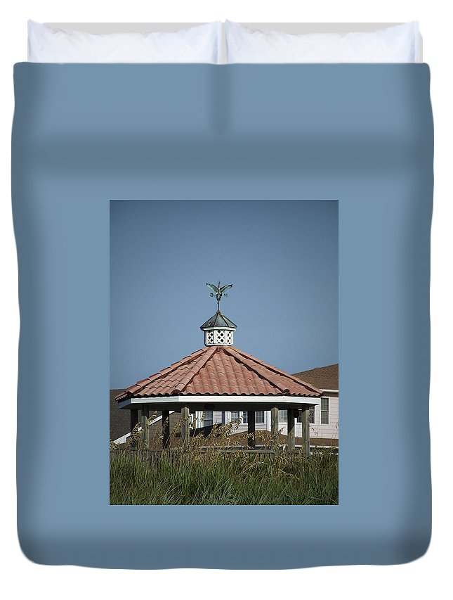 Ocean Duvet Cover featuring the photograph Ocean Isle Pelican Weathervane by Teresa Mucha