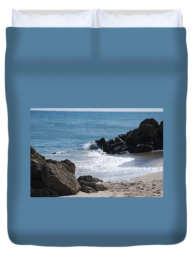 Sea Scape Duvet Cover featuring the photograph Ocean Rocks by Rob Hans