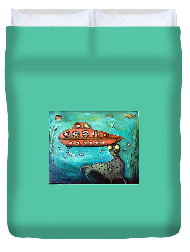 Sea Monster Duvet Cover featuring the painting Ocean Screams by Leah Saulnier The Painting Maniac