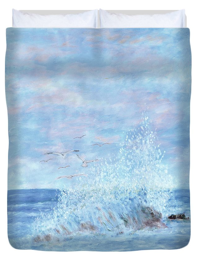 Gulls Duvet Cover featuring the painting Ocean Spray by Ben Kiger