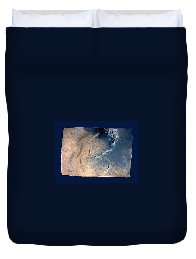 Seascape Duvet Cover featuring the painting Ocean by Steve Karol