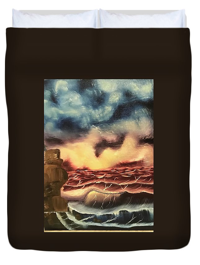 Oil Duvet Cover featuring the painting Ocean Storm by Brandy Vasquez