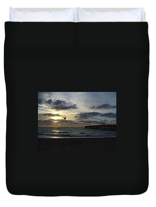 Sunrise Duvet Cover featuring the photograph Ocean Sunrise by Peggy King