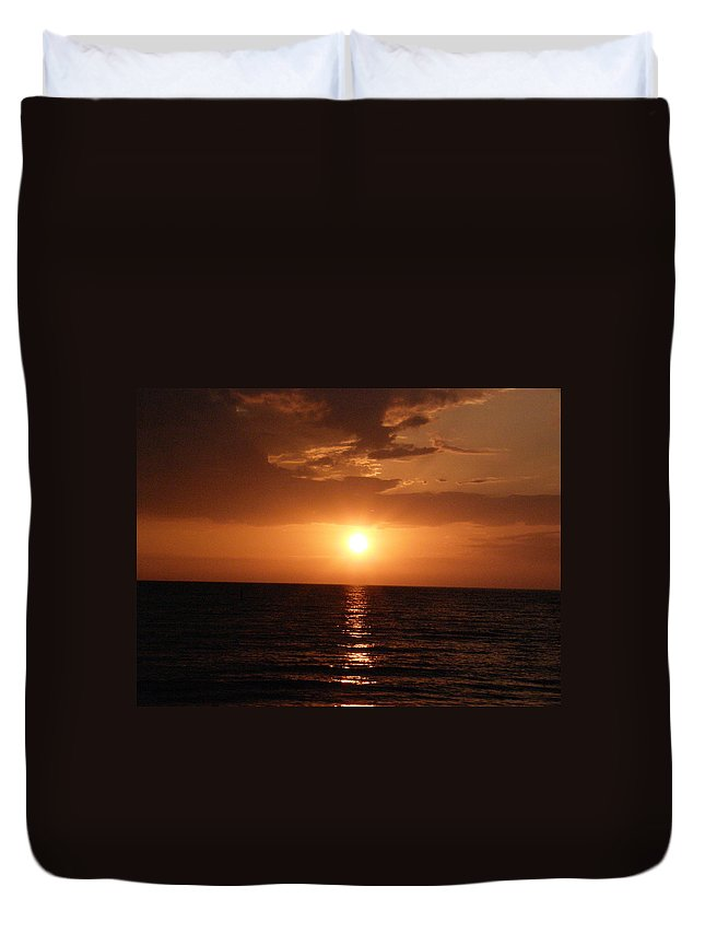 Ocean Duvet Cover featuring the photograph Ocean Sunset by Alice Markham